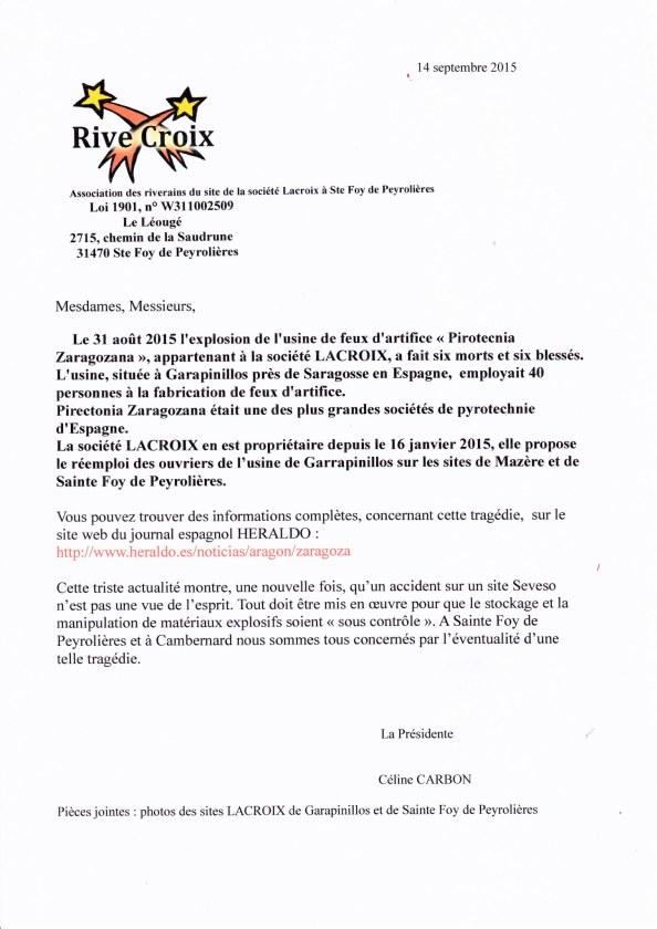 Courrier Association RIVES CROIX suite à explosion usine de feux d'artifice Espagne